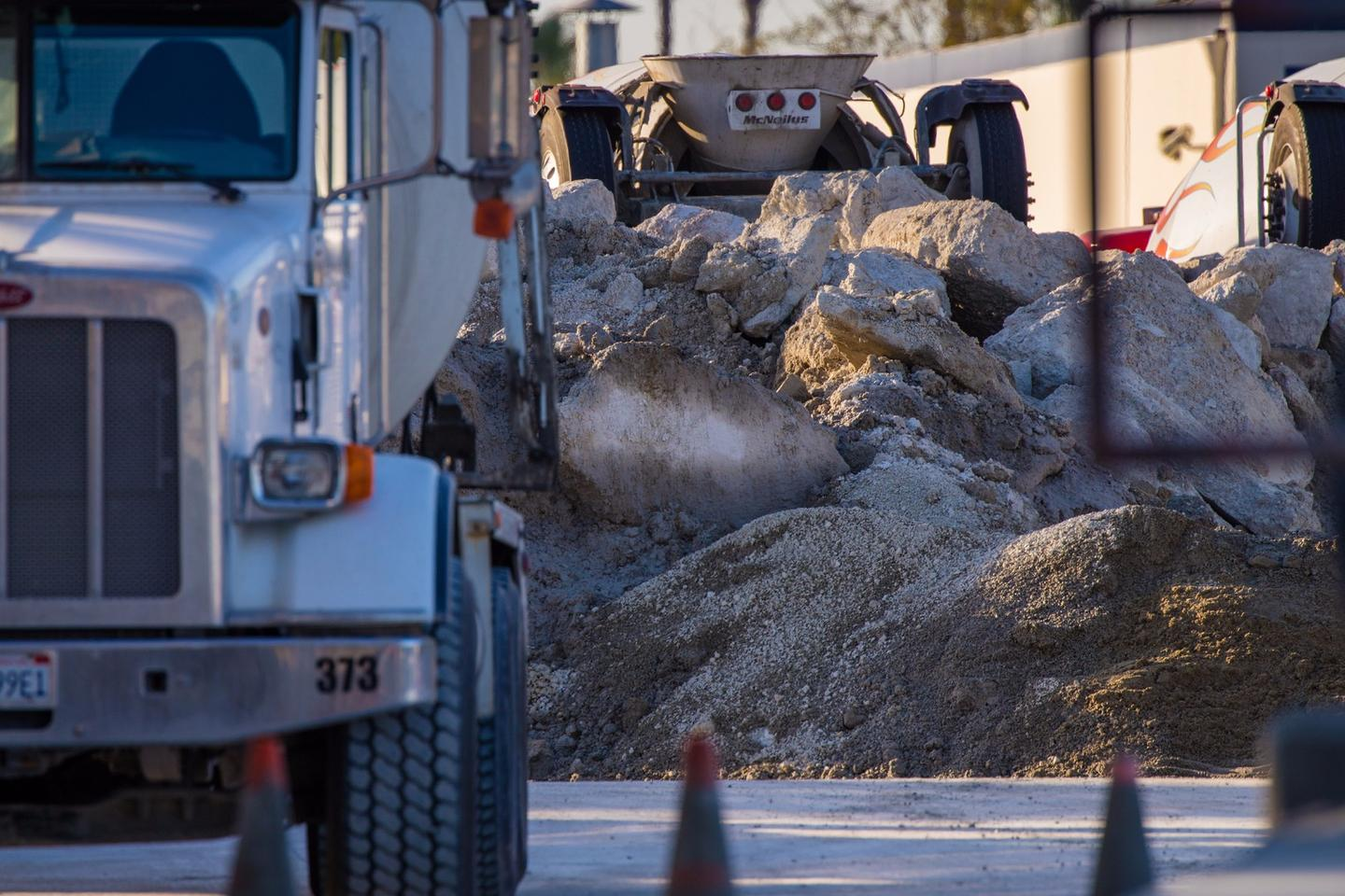 Believe it or not,the concrete rubble you see on the road is actually helping to clean up the air