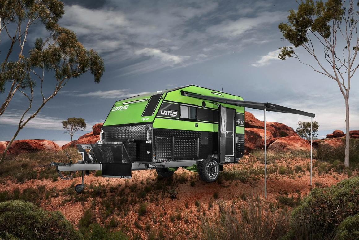 The Off Grid includes an awning and slide-out outdoor kitchen