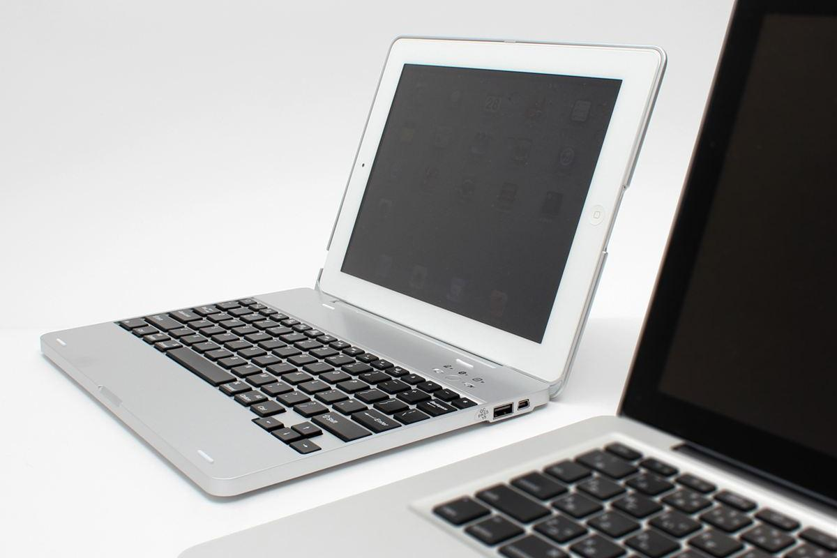 The Notebook Case for iPad allows an iPad 2 to be used as the screen for a notebook-style shell and keyboard