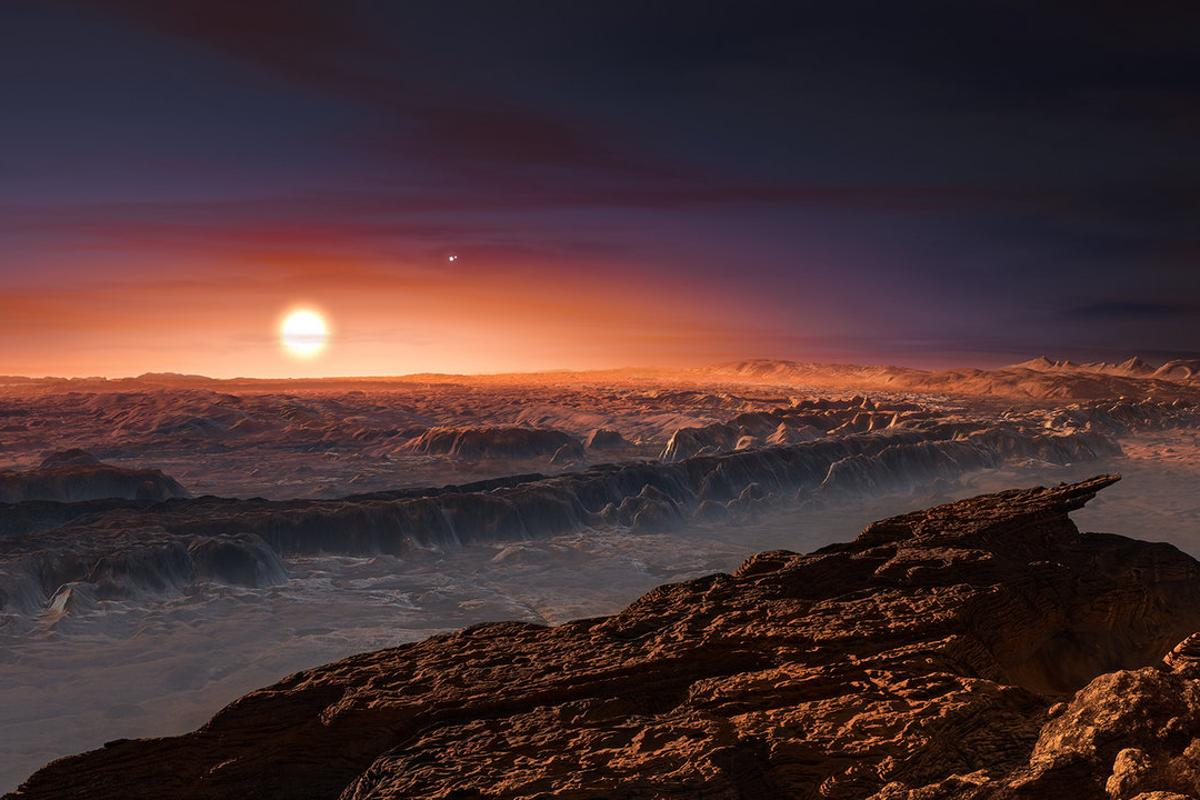 Artist's impression of the view from the surface of one of Proxima Centauri's exoplanets