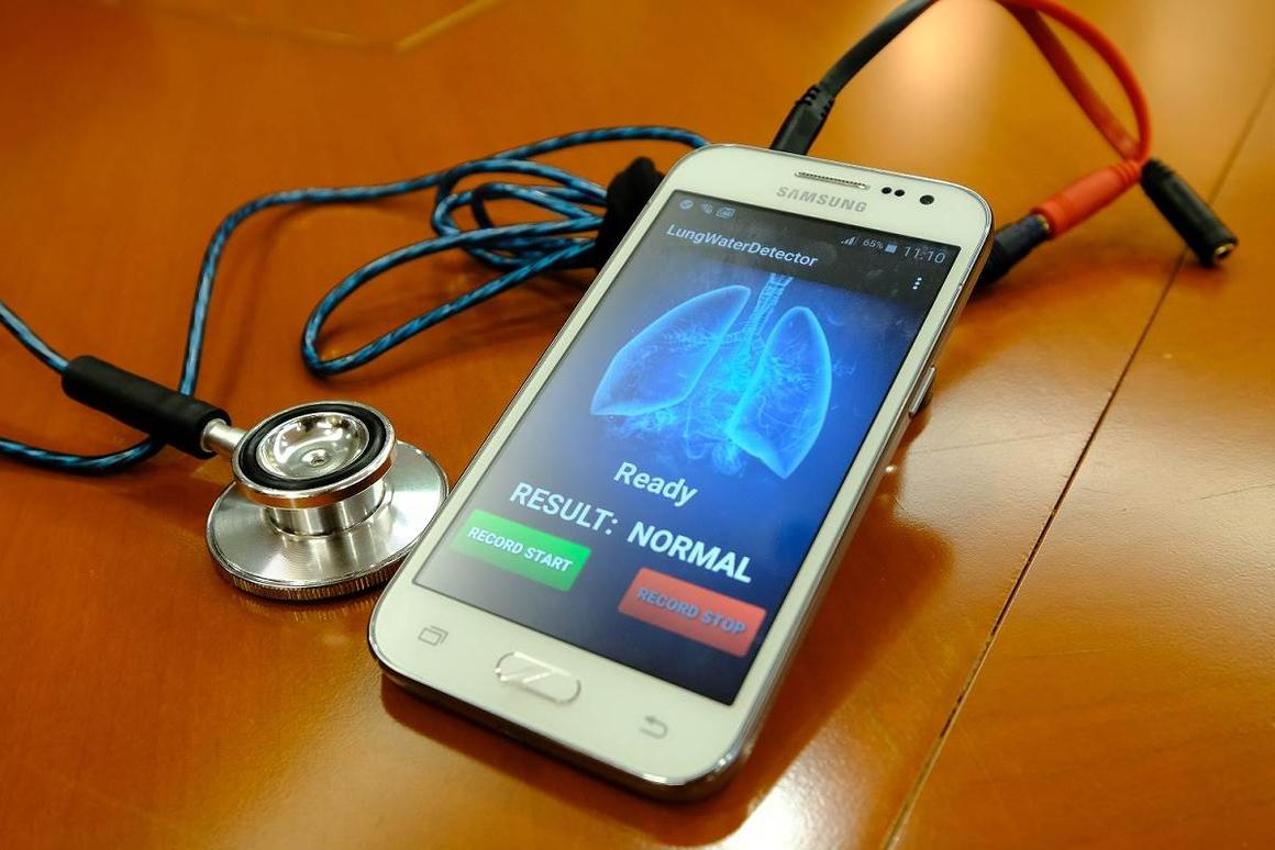 The device takes the form of a stethoscope-like acoustic sensor which is hard-wired to a smartphone
