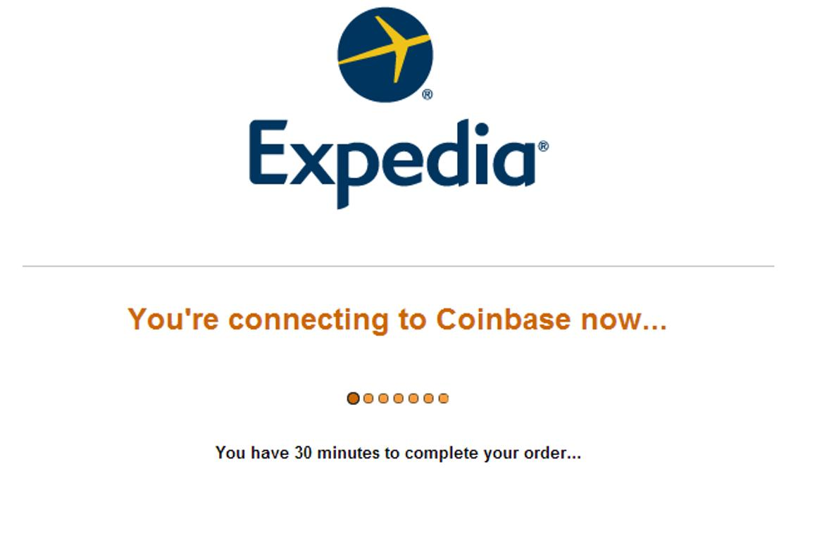 Expedia site processing bitcoin option