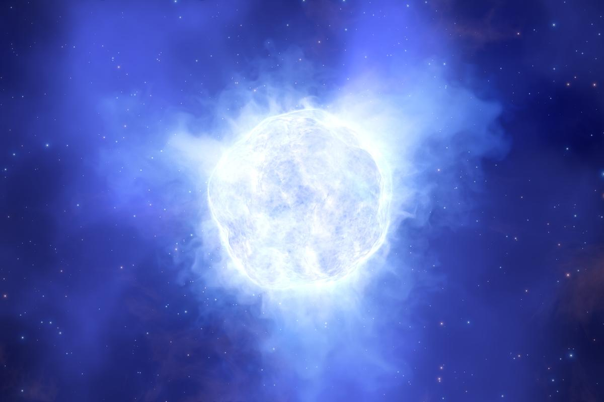 Artist's impression of the now vanished luminous blue variable star