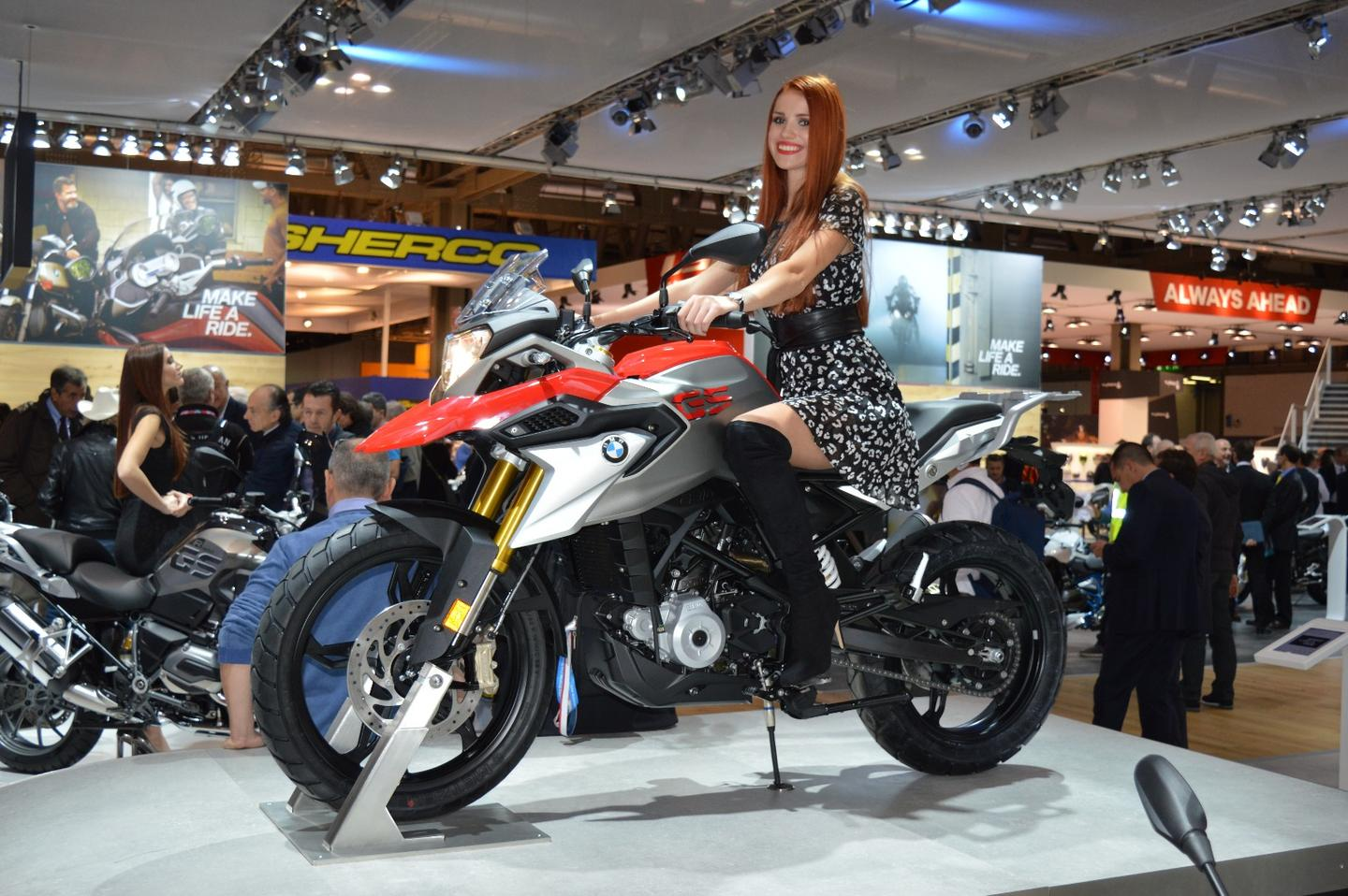 The BMW G310 GS on the ground at EICMA