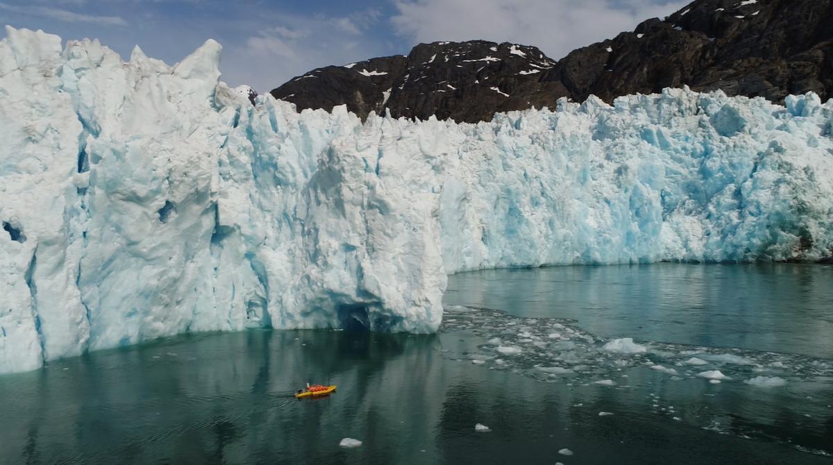 A robotic kayak measures meltwater in the sea near LeConte Glacier in Alaska