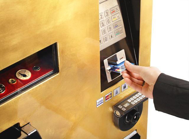 The GOLD To Go ATM accepts cash and major credit cards