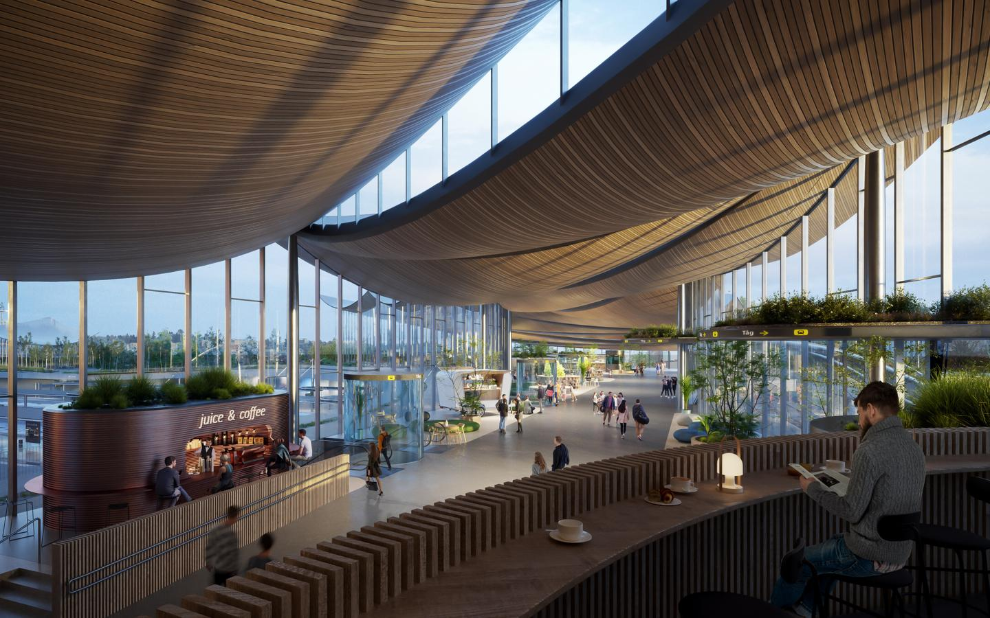 The Västerås Travel Center will incorporate significant greenery, both on the roof and inside the building