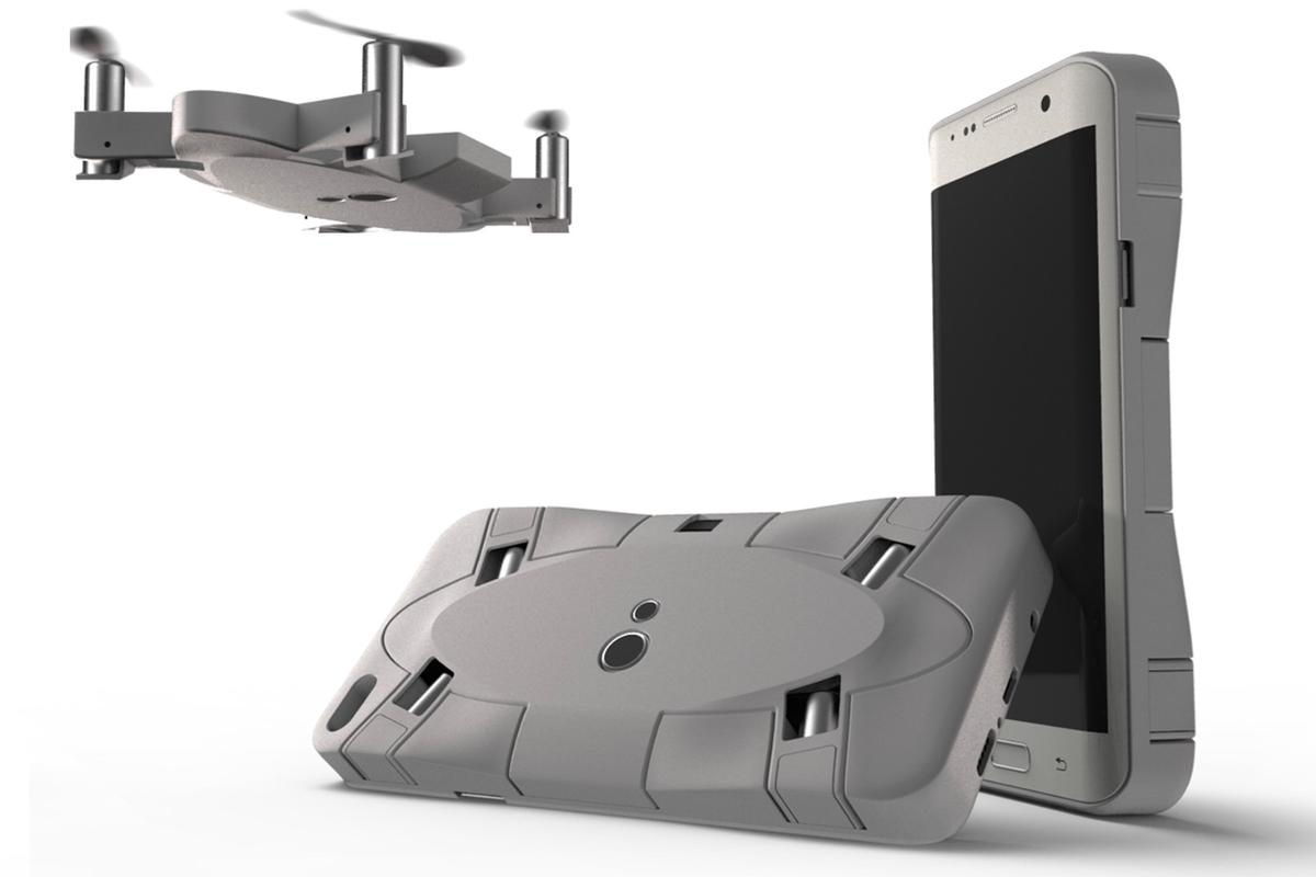 The Selfly drone attaches to a smartphone case when not in use
