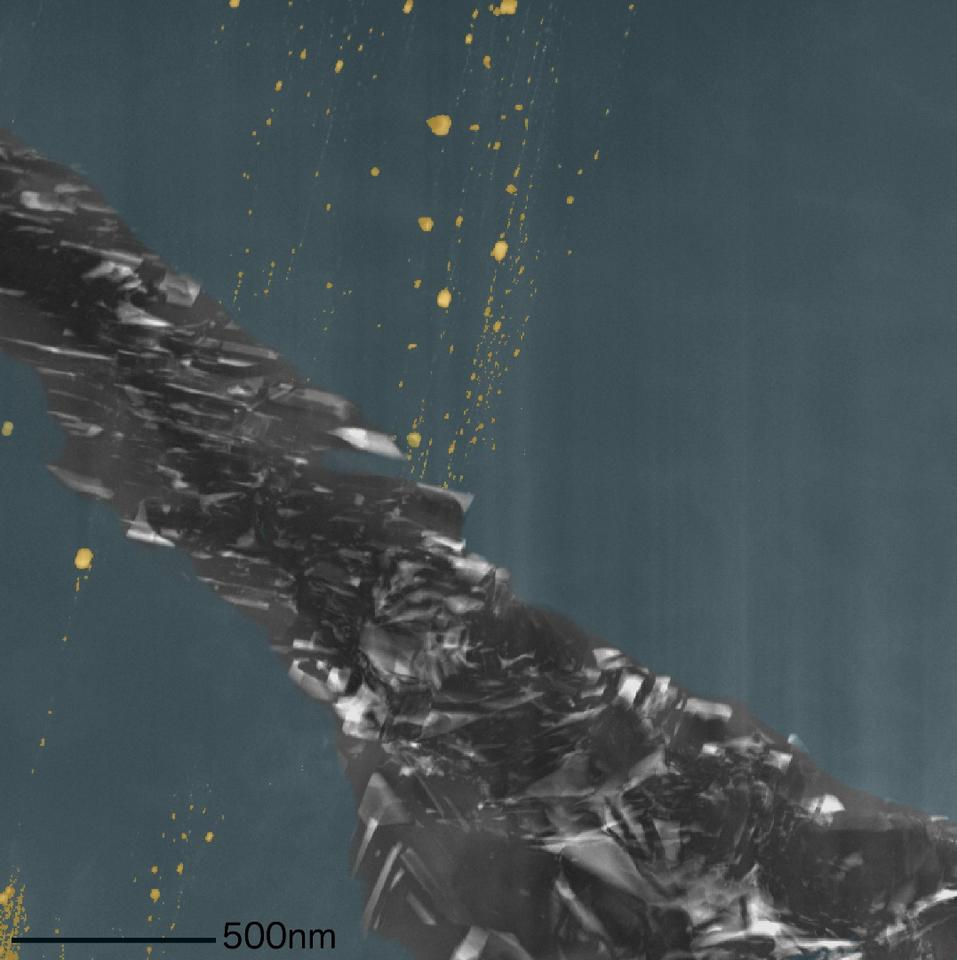 A colorized scanning transmission electron microscope image of the meteorite samples, showing the diamond (blue), inclusions (yellow) and the graphite region (grey)