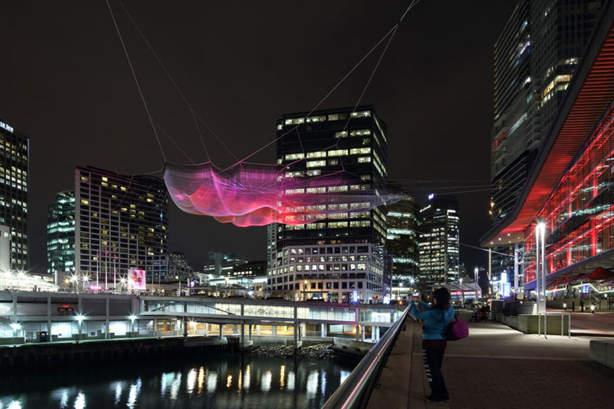 Artist Janet Echelman has created a huge net sculpture that is being exhibited in Vancouver