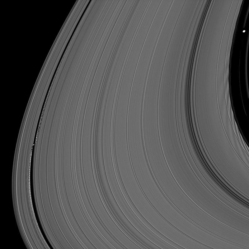 The density rings in Saturn's A ring caused by a team of moons look like grooves in a vinyl record
