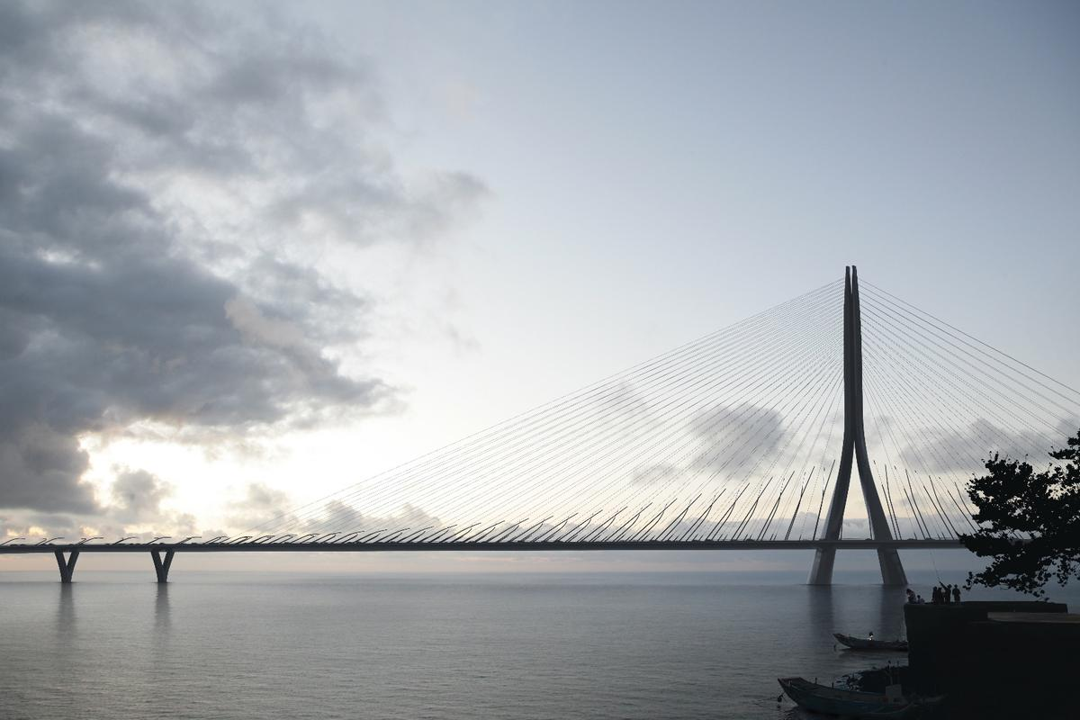 ZHA reports that the slim form of the bridge's supporting structure is designed to minimize interference with popular viewing points along the river