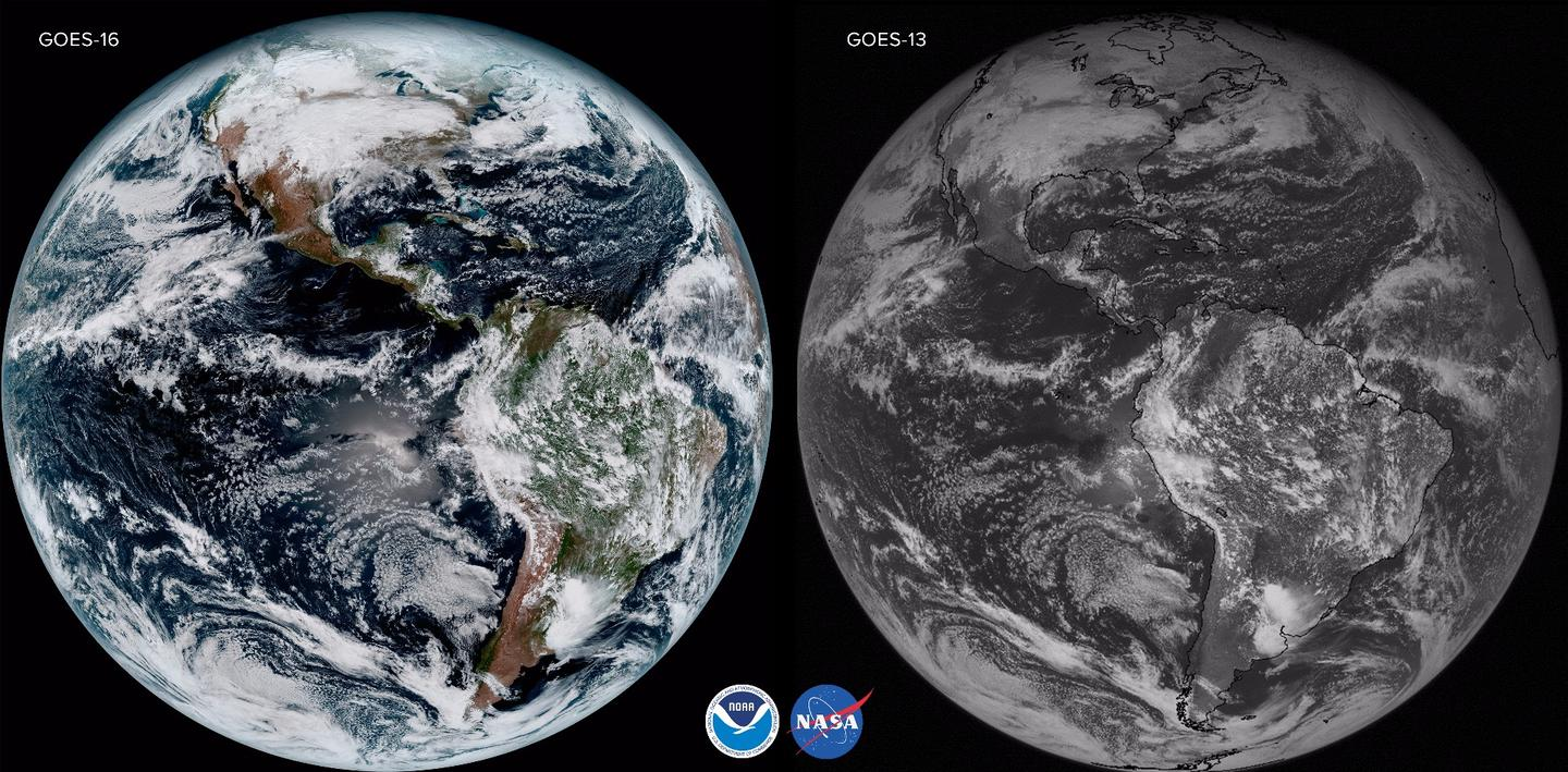 Comparison of the capabilities of the GOES-16 satellite compared to the older GOES-13 probe. Both images of Earth's disk were captured on Jan. 15. 2017