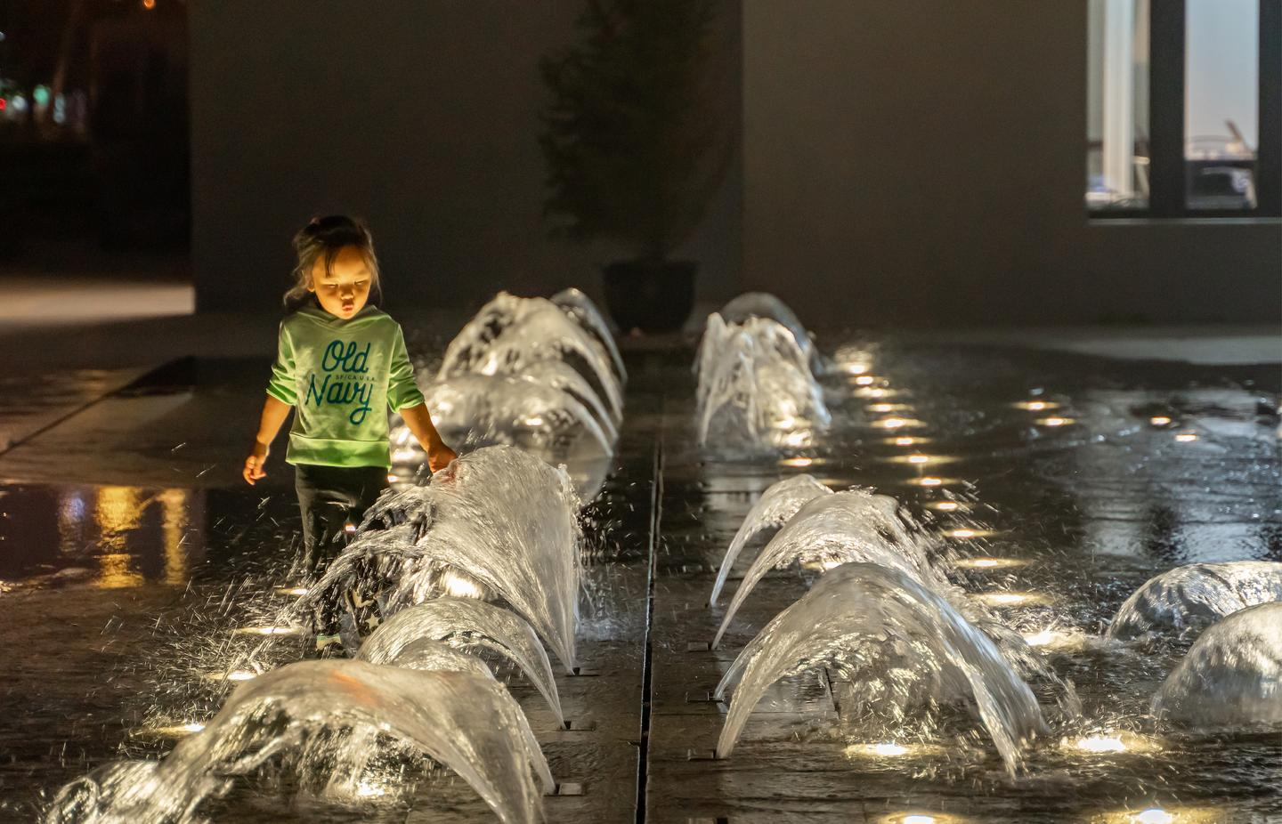 The Xuhui Runway Park includes a children's fountain area built into the old runway
