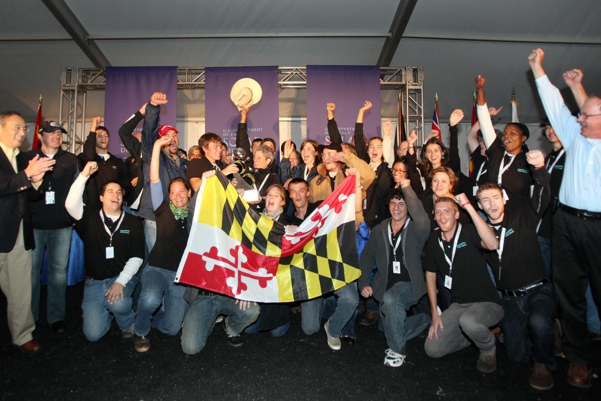 U.S. Energy Secretary Steven Chu with the winners of the 2011 Solar Decathlon - Team University of Maryland (All photos: U.S. Department of Energy Solar Decathlon/Stefano Paltera/Jim Tetro)