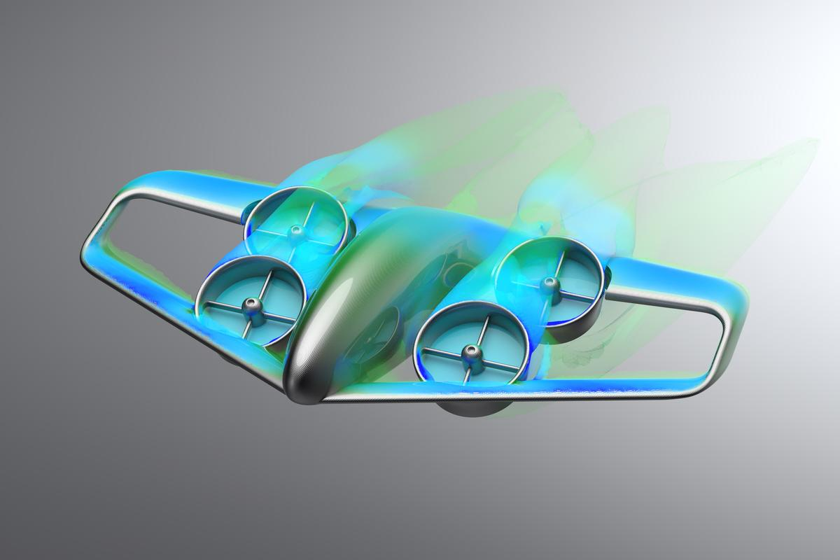 The Skybus concept is a large electric VTOL air transport capable of ferrying 30 to 50 passengers across town at a time