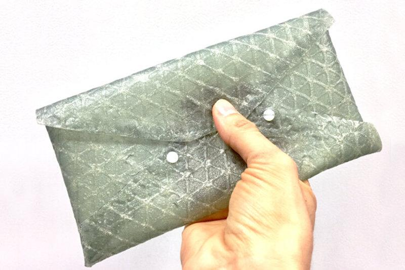 A purse made from the new silk leather