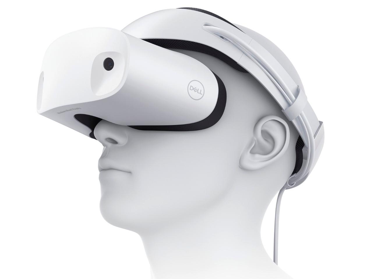The Dell Visor has been designed for comfort, with extra cushioning, weight balancing to keep the pressure off the wearer's nose, a thumbwheel to adjust the headband, and a flip-up eyepiece