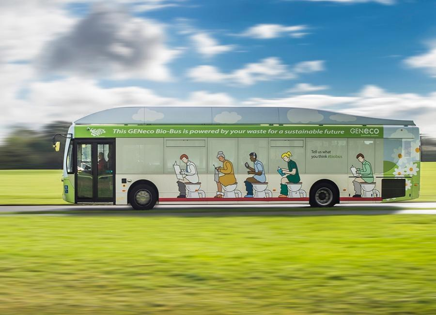The Geneco Bio-Bus is powered by gas produced from human and food waste