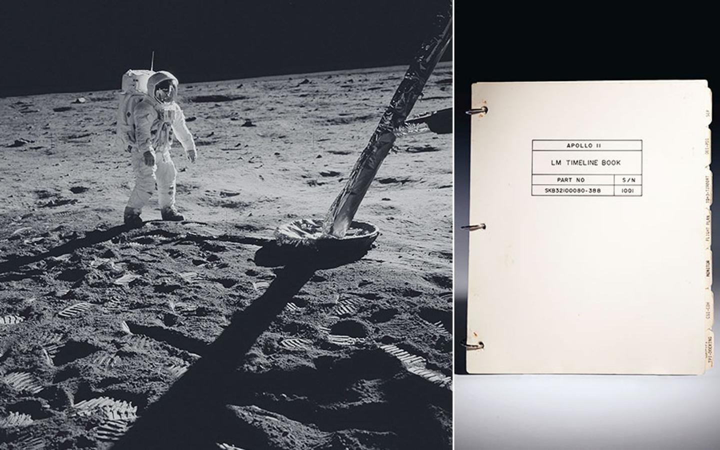 The cover of the Apollo 11 Lunar Module Timeline Book – to be auctioned almost 50 years to the day after the historic landing on the Moon