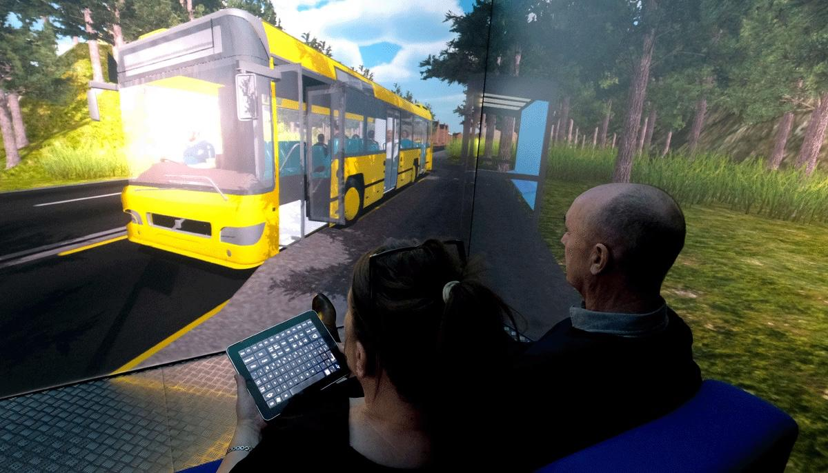 The Blue Room is used to simulate catching a bus