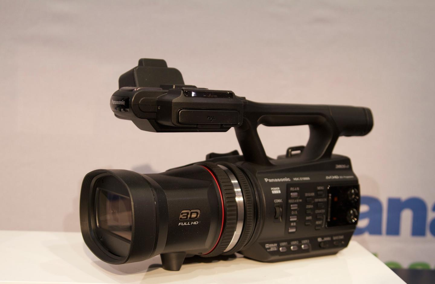 Panasonic's new HDC-Z10000 twin lens 2D/3D compact, handheld camcorder on display at CES 2012