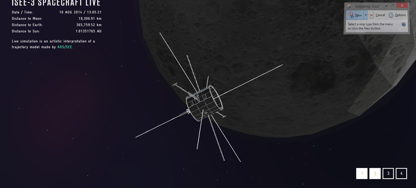 Simulated view of the ISEE-3 lunar flyby