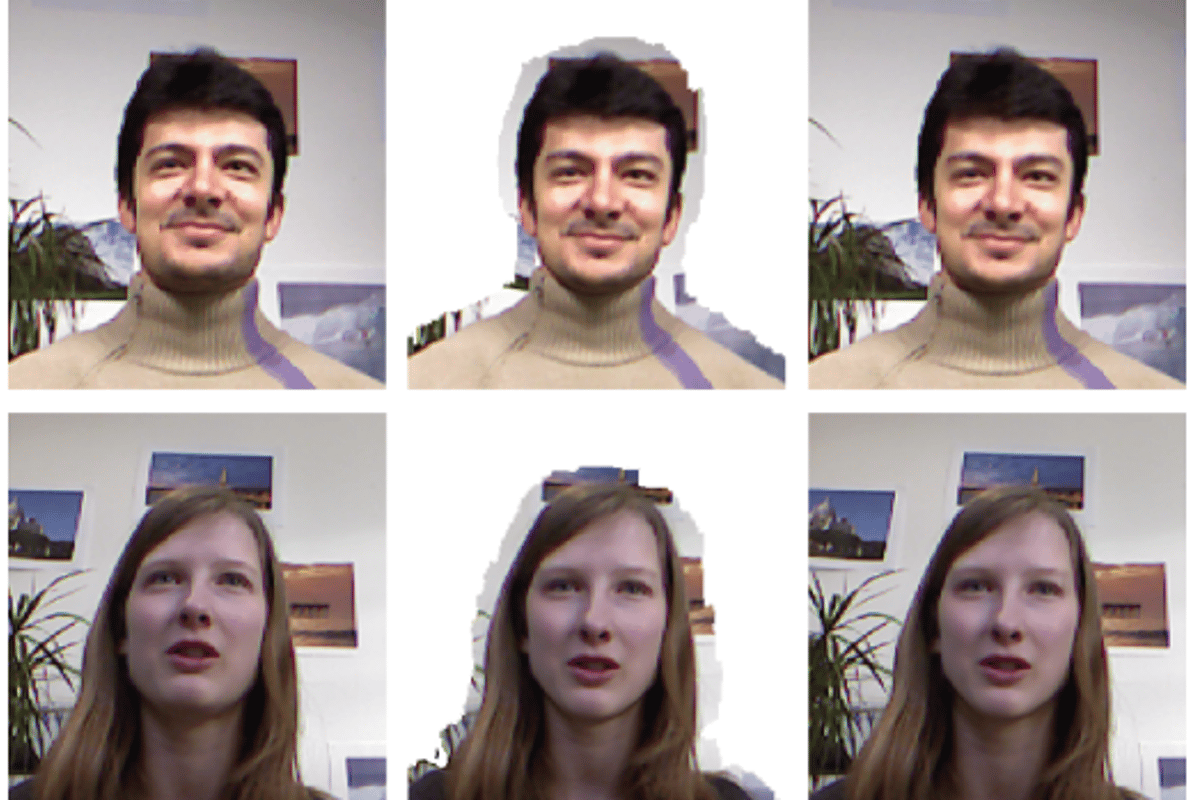 Software being developed at ETH Zurich isolates the foreground image and tilts the face to bring eye contact to video calling