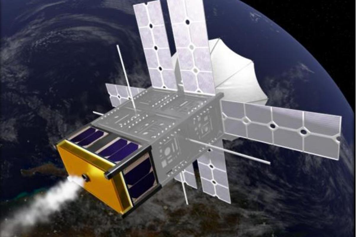 Artist's concept of a ThermaSat unit installed on the bottom of a CubeSat