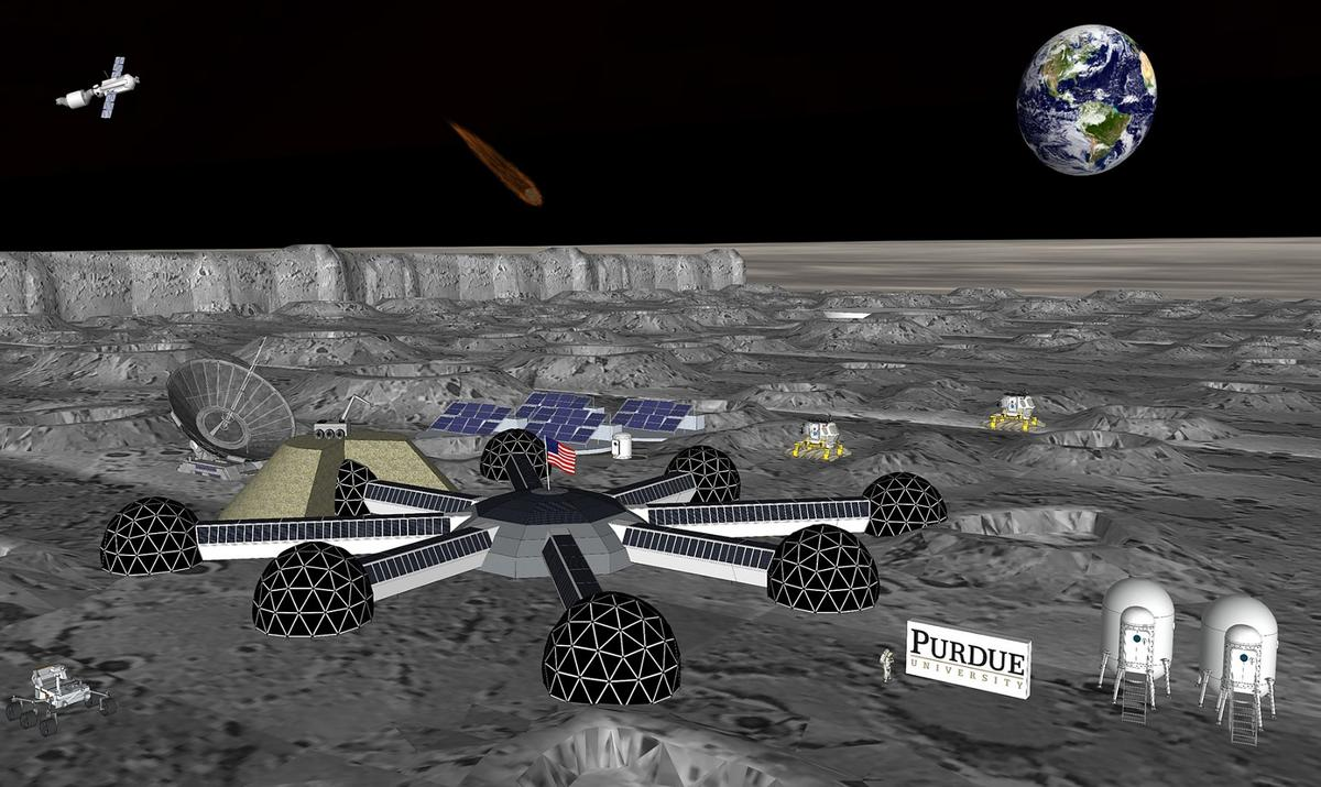Members of Purdue University's new Resilient ExtraTerrestrial Habitats Institute are studying the hurdles in building habitats like this on the Moon or Mars