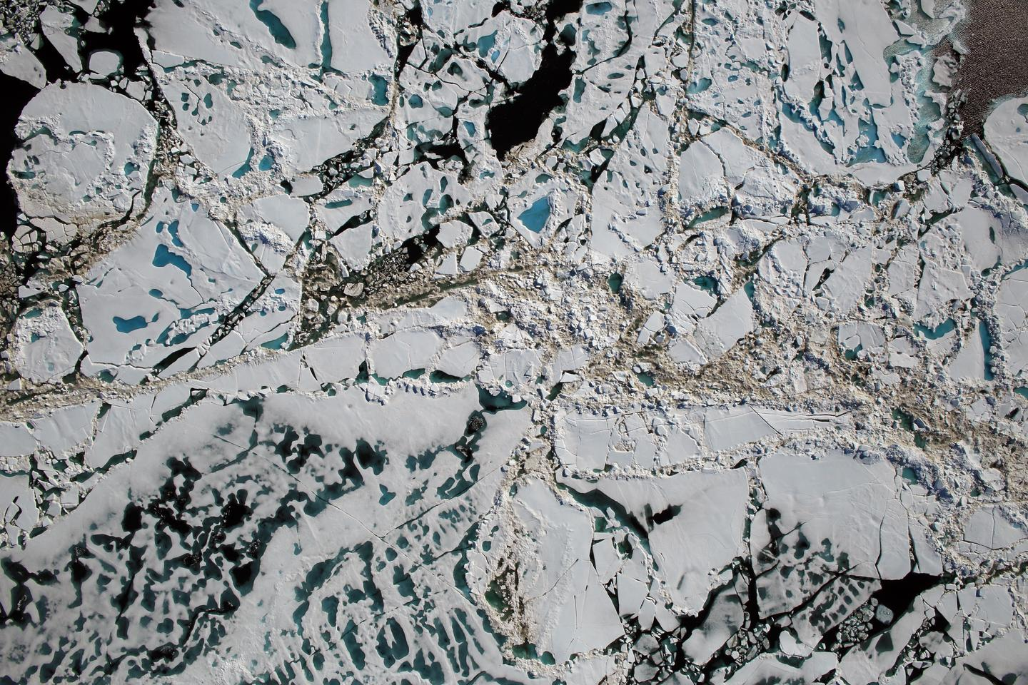 An image of Arctic sea ice captured from 1,500 feet during an Operation IceBridge mission