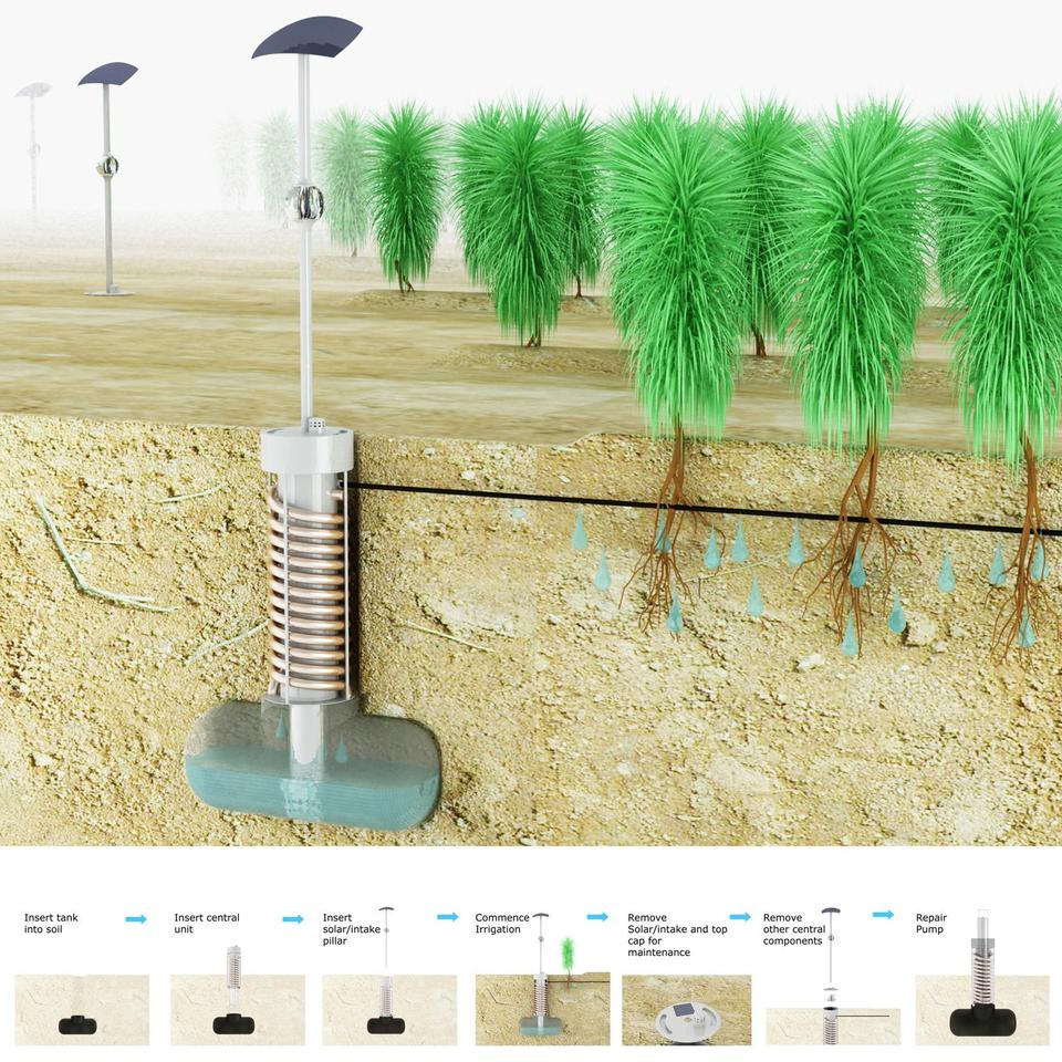 The Airdrop irrigation concept is a low-tech design that uses the simple process of condensation to harvest water from the air (image: James Dyson Award)