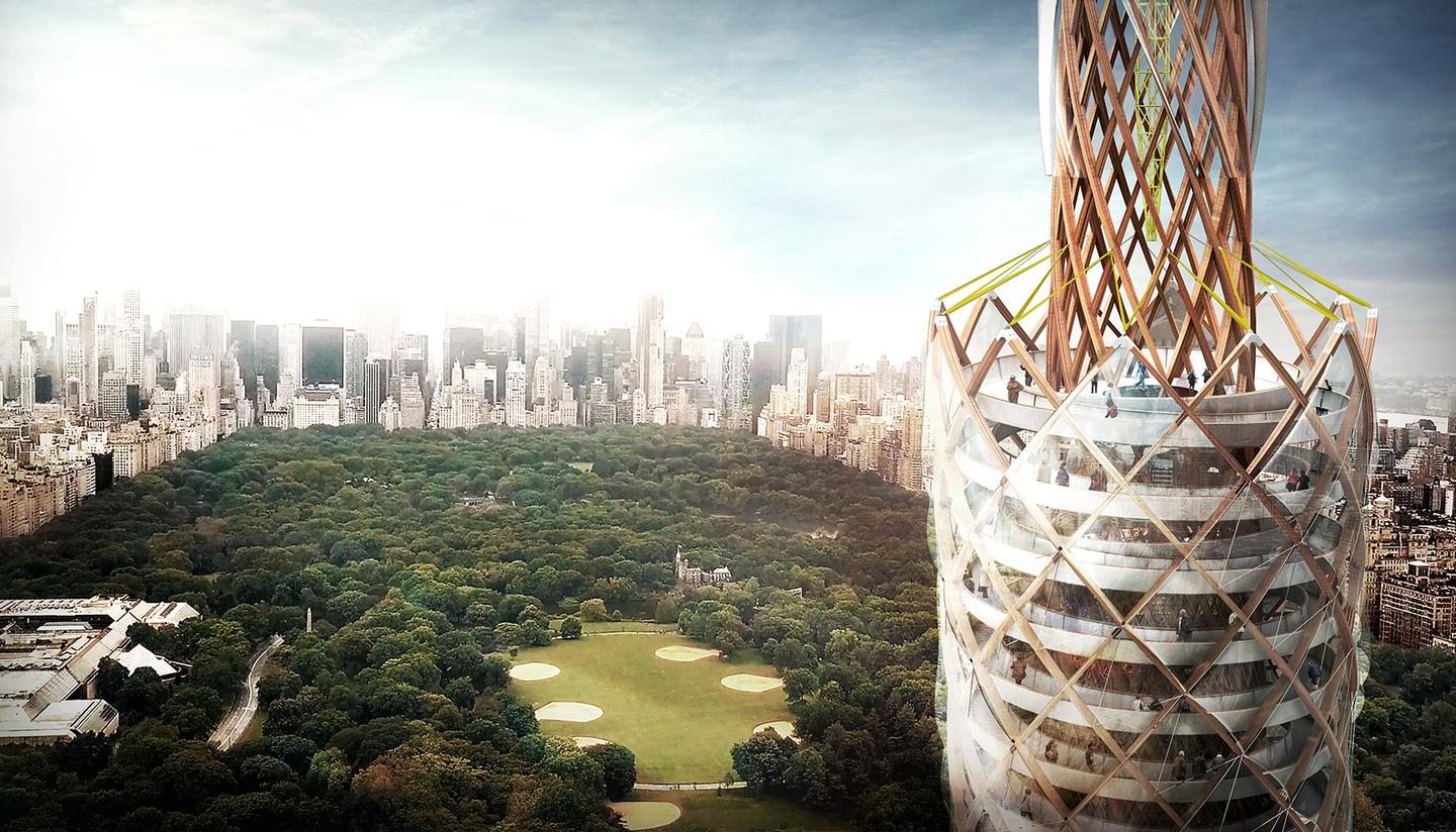 The Central Park Tower would be made from Glulam (glue-laminated timber), as was used in the Oslo Airport extension