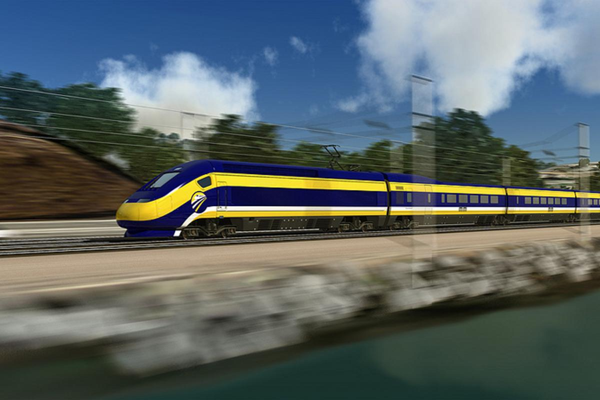 An artist's impression of California's new high-speed train