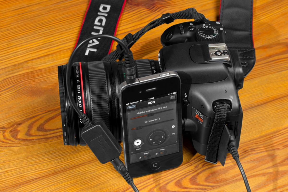 Triggertrap Mobile requires a dongle and cable to connect your iOS5 device to a DSLR