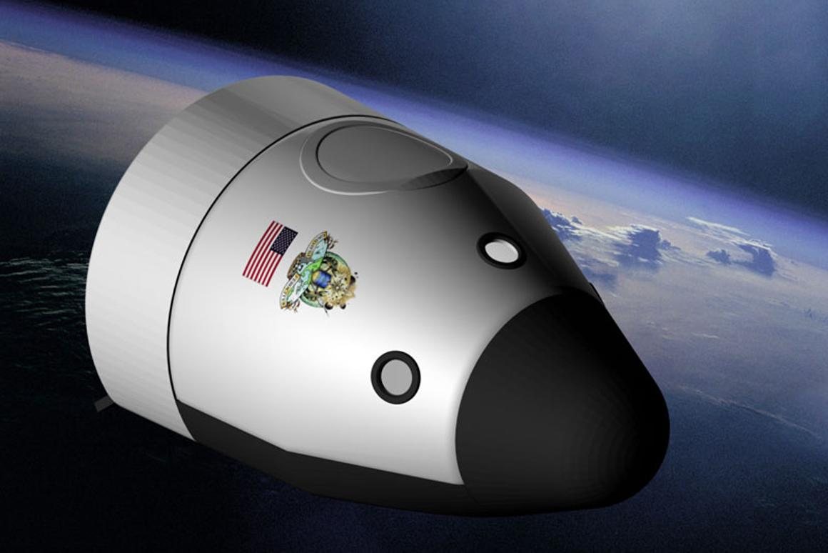 A depiction of Blue Origin's Space Vehicle