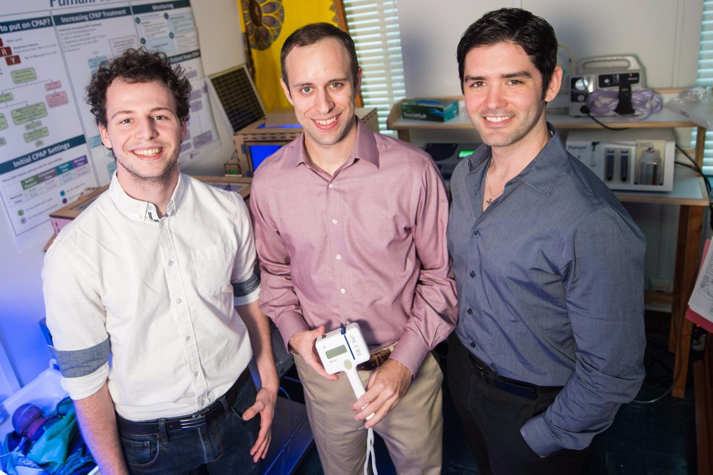 Rice University students (from left) Mathieu Simeral, Pelham Keahey and Kristofer Schroder helped complete the first clinical study of BiliSpec