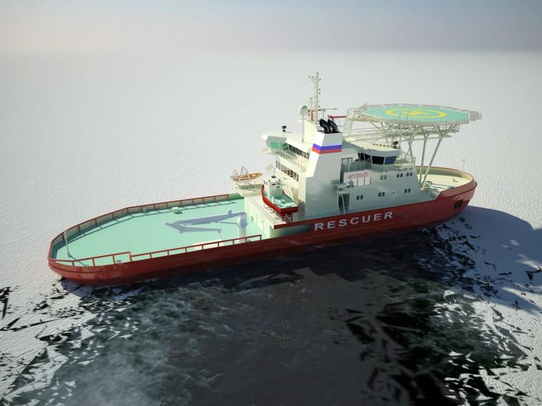 A rendering of the Baltika moving sideways into the ice