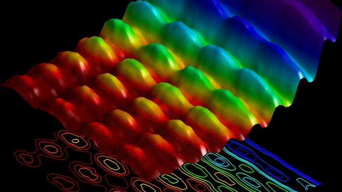 Light simultaneously showing both wave pattern and particle energy attributes