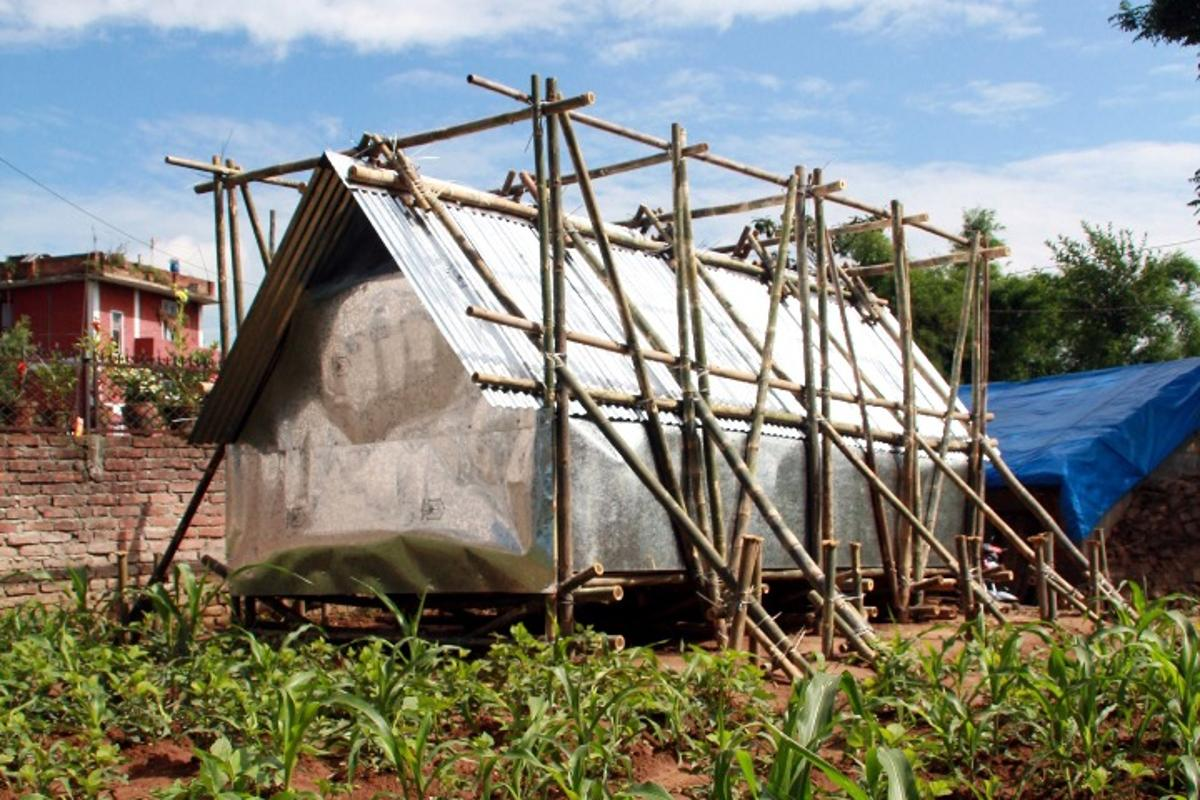 The recently-built Temporary Shelter in Nepal
