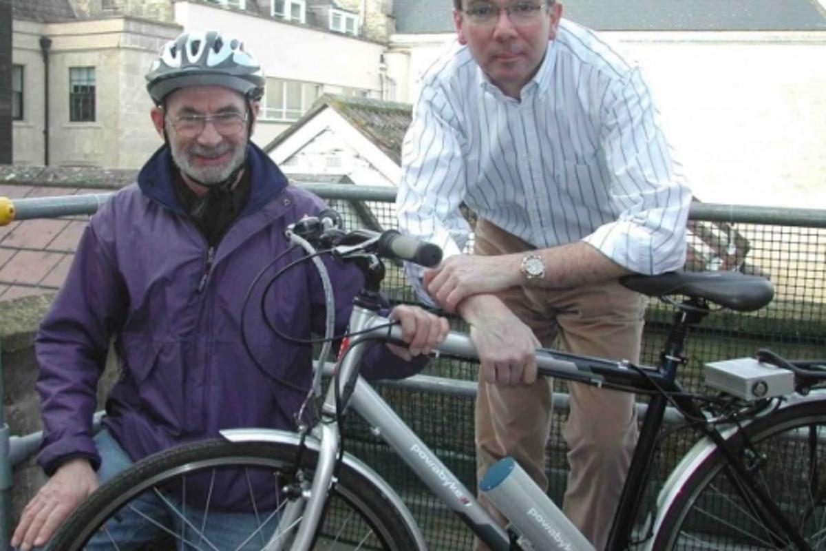 Eddie Sedgemore, left, and Powabyke's Managing Director Nick Child, with the Powabyke X-byke, the lightweight electric cycle on which Eddie will make his 1,655-mile journey
