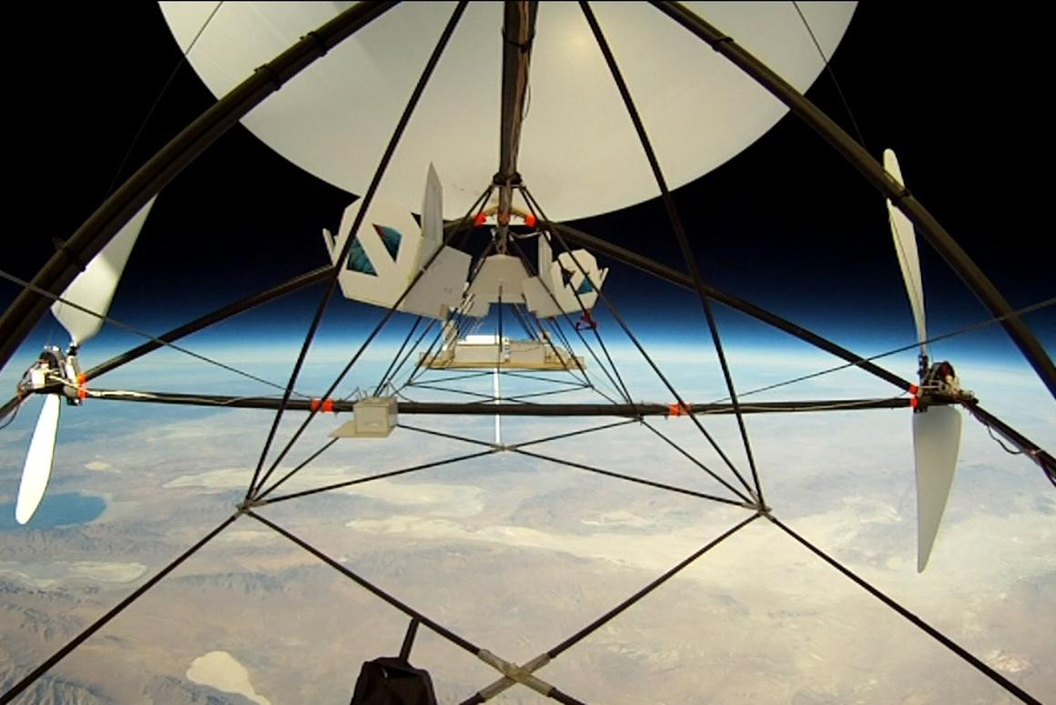 A view from JP Aerospace's Tandem airship, at its record-breaking altitude of 95,085 feet (28,982 meters)