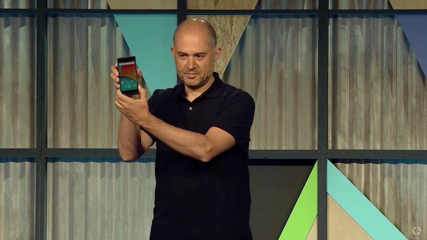 Rafa Camargo, ATAP's Technical and Engineering Lead, shows off the Developer's Edition of Project Ara at the I/O conference