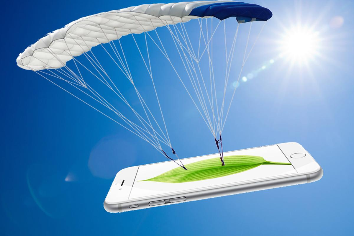 Apple has patented technology to detect when its gadgets are falling, and give them the softest landing possible ... parachutes not included (Photo composite: Shutterstock [1], [2])