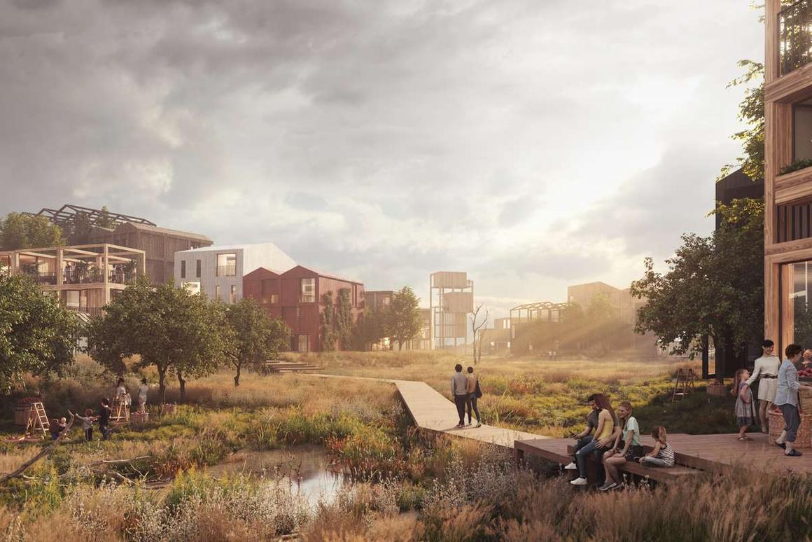 Fælledby is described as Copenhagen's first all-timber neighborhood by Henning Larsen