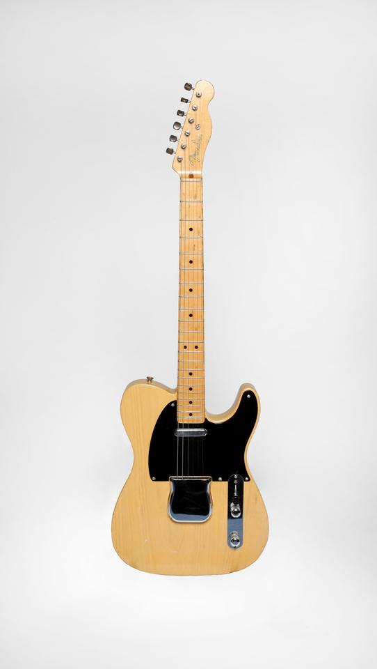 The butterscotch 1951 Fender Nocaster with its original thermometer case that was a gift to Les Paul from Leo Fender