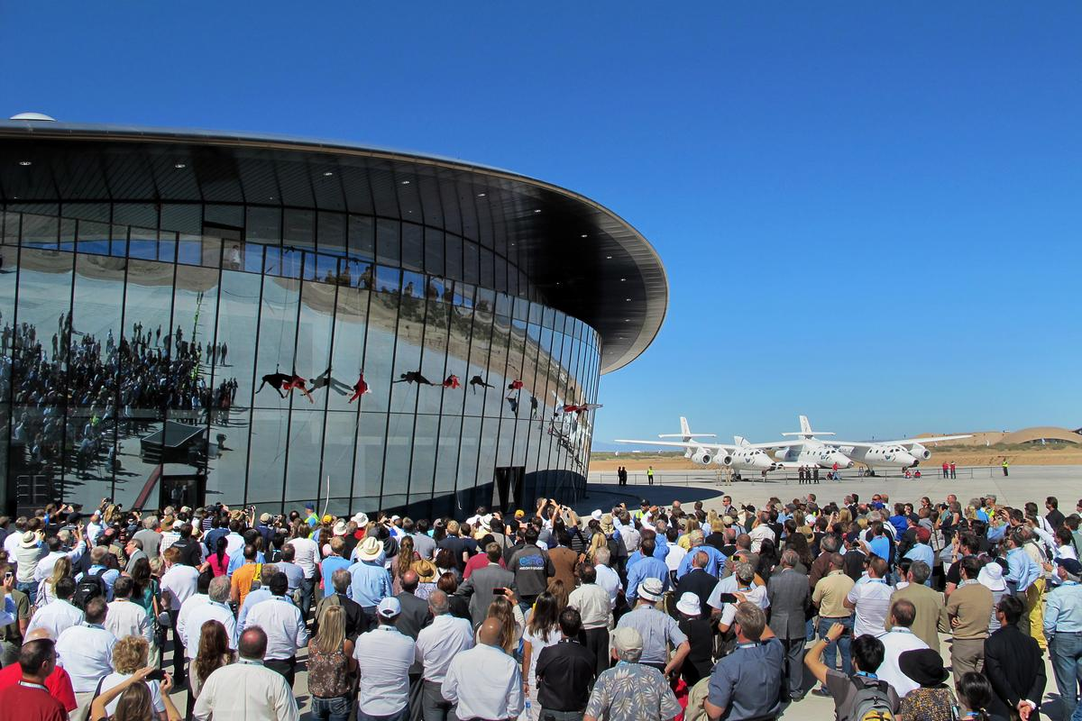 Virgin Galactic Terminal Hangar Facility dedication at Spaceport America in New Mexico (Credit: Mark Greenberg)
