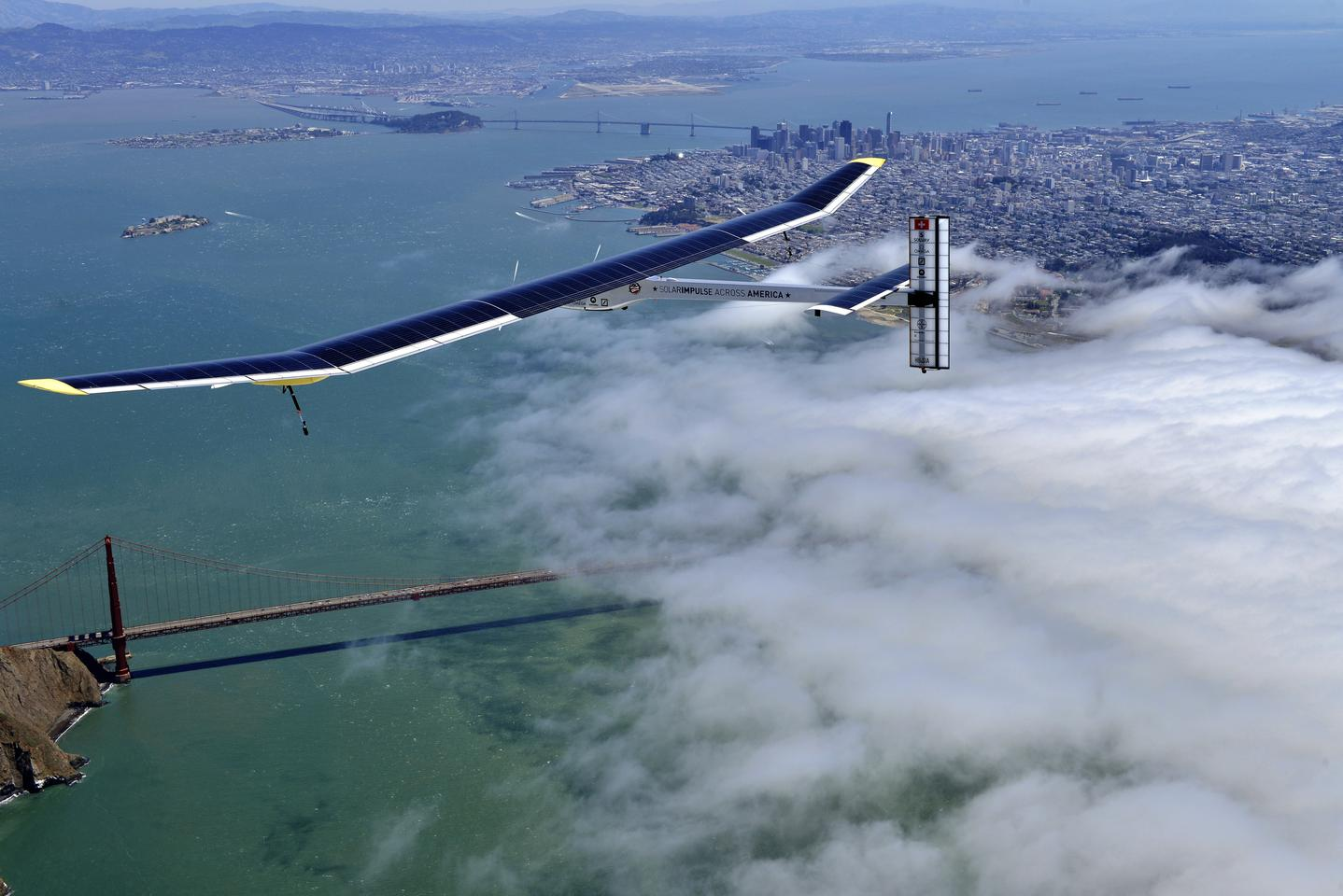 The Solar Impulse airplane, on an earlier test flight over San Francisco