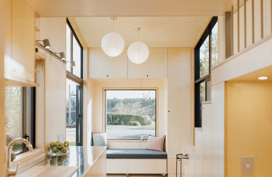 The First Light Tiny House is light-filled and relatively spacious