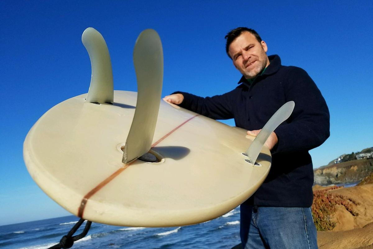 Surfer/inventor Klaus Dilling, with one of his TunaFlex-equipped boards